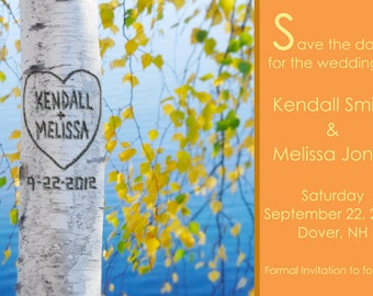 Save the Date Printable Card, Custom Carved Tree, Birch Tree, Custom Colors, Autumn Save the Date, Nature Save the Date