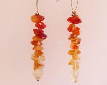 Long CARNELIAN Ombre Cairn Earrings