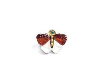Czech Glass Button - 20x16mm Brown and White Butterfly Czech Glass Button, Hand Painted  BUT0022
