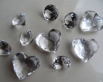 set of 10 ornaments in the shape of diamond and heart