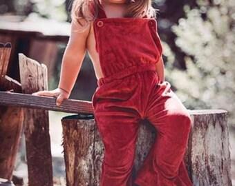 Monogrammed Velour Suspenders Jumpsuit - Little girls,Valentines Day,Baby SHower Gift,