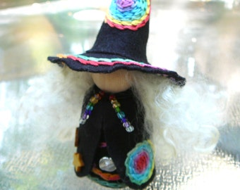 Rainbow Witch Peg Doll, Waldorf Wooden Peg Doll, Handmade Miniature, Art Doll
