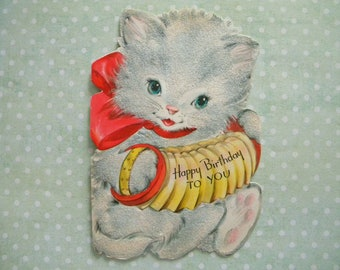 Vintage Flocked Birthday Card Kitty Cat Playing Accordion Anthropomorphic Signed