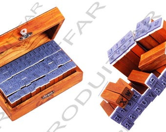 Wooden stamp box 2 Alphabets uppercase lowercase numbers + punctuation 70 Pieces