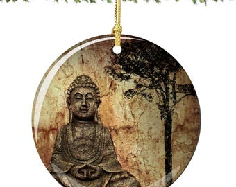 Buddha Christmas Ornament in Porcelain Featuring the Sitting Buddha and the Bodhi Tree