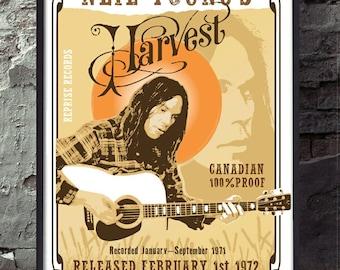 Neil Young inspired Harvest poster wall decor art print unframed