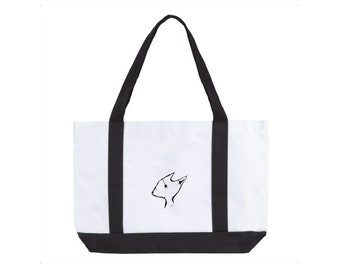 Fox Art Tote Bag - Minimal Line Artwork Shopping - Original Handbag