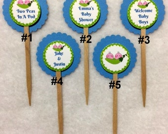 Set Of 12 Personalized Two Peas In A Pod Boy Twins Baby Shower Cupcake Toppers (Your Choice Of Any 12)