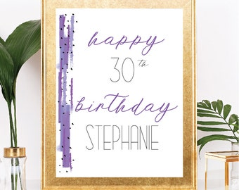 Happy Birthday Sign - Modern Abstract Style - Customizable Text - Purple Confetti - Printable - 8.5x11 Digital Download