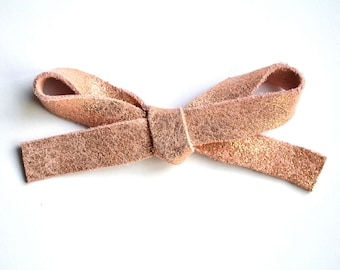 OVERSIZED Rose Gold Metallic Leather Bow Clip Adorable Photo Prop for Newborn Baby Little Girl Child Adult Summer Headwrap Pretty Bow