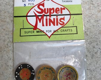 Miniature Wooden Plates, 5 Bags Total