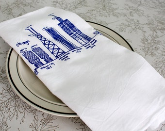Chicago kitchen towel Chicago buildings diagram tea towel white cotton floursack dish towel, gift for him, gift for her, Christmas gift