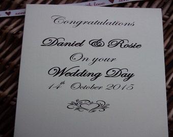 Congratulations on your wedding day, Personalised wedding day card,  wedding card, wedding, wedding day, congratulations