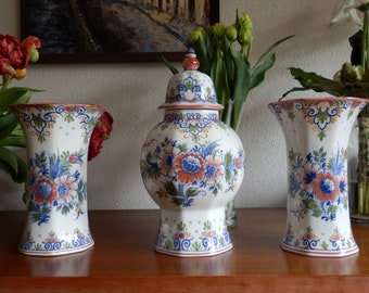 Delft garniture set of 3 polychrome handpainted vases Holland Dutch
