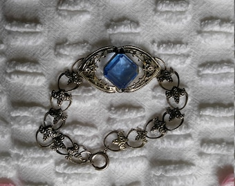 Art Deco style bracelet blue and silver