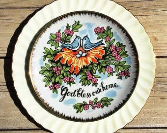 God Bless Our Home • Vintage Collector Kitsch Wall Plate • Love Birds • Housewarming • Welcome • China • Wedding • Religious