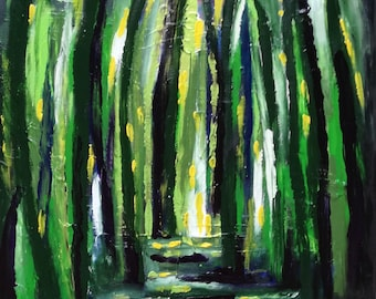 Whispers - abstract painting - Green