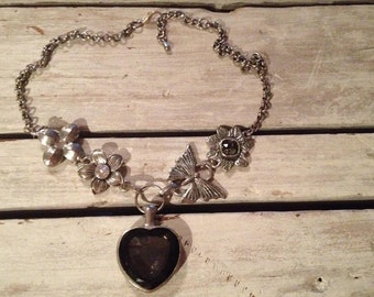 Smoky Faceted Glass Heart Necklace *Butterfly*Flowers* 112.7 Grams