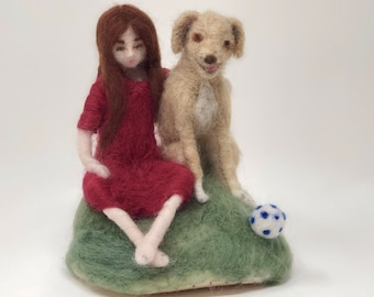 Friends needle felted art doll girl with Labrador dog Waldorf style wire armature sculpture