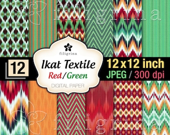 ETHNIC TEXTILE red green digital paper. Christmas chevron, tribal pattern textures 12x12 inches, 12 printable background. Read about usage