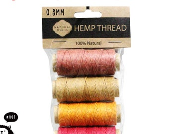 4 IN 1 0.6~0.8MM HEMP THREAD-Total 88Yards Waxed surface perfect for Leather Sewing work, Personal Braid Bracelet