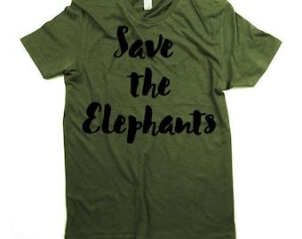 Green Elephants T-shirt - Save the elephants Shirt - Mens - Unisex - Jungle - Forest - Animals - Endangered -Small, Medium, Large, XL, 2XL