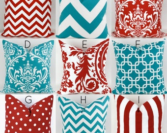 Turquoise & Red Pillow Covers  -18x18 - Mix/Match patterns cushion sham euro throw modern teal custom nursery decor PremierPrints