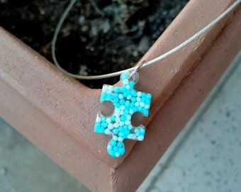 Puzzle Necklace, Puzzle Resin, Autism Awareness Necklace, Puzzle Piece Necklace, Blue Epoxy Pendant, White Blue Necklace, Puzzle Pendant