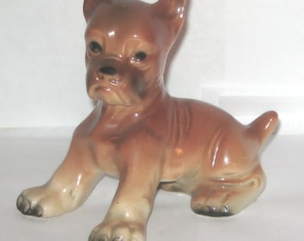 Erphila Germany 2661 Boxer Dog Puppy Animal Figurine Ceramic Sitting Red and Black