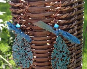Verdigris Patina  Filigree Flower Teardrop Earrings  Boho Jewelry  Filigree Earrings  Silk Sari Ribbon Earrings