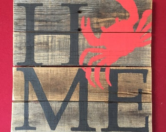 HOME Crab Sign // Custom // Gifts for Her // Gifts for Him // Wedding // Pallet // Maryland // Beach // Bay // Home Sign