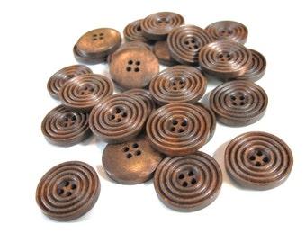 Bouton de bois café de 2cm - ensemble de 8 boutons en bois naturel avec cercles