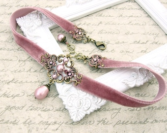 Dusty Pink Velvet Choker - Antique Pink Swarovski Pearl Antique Victorian Style - Antique Brass Floral Patina Filigree Velvet Ribbon Choker