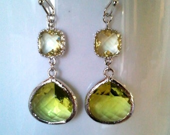 Peridot Green Silver Drop Earrings - Dangle Earrings,bridesmaid gifts,Wedding Earrings,christmas earrings, cocktail jewelry