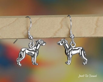 Great Dane Earrings Sterling Silver Pierced Fishhook Earwires .925