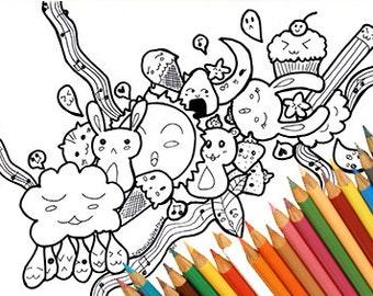 Coloring page, coloring kawaii doodle, kawaii print download, doodle coloring page, coloring book, coloring page adult, coloring page kids