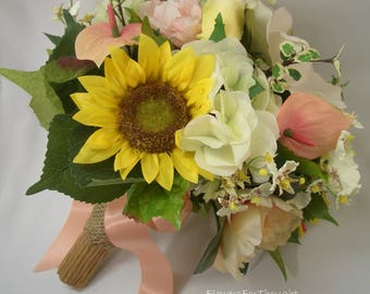Sunflower Peony Bouquet with Roses and Magnolia,Wedding Flowers,Peach
