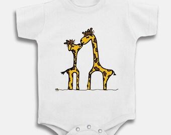 Giraffe kiss baby romper choose size 6m 9m 12m 18m 24m infant toddler onesie