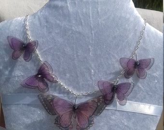 Beautiful Handmade Silver Plated Purple Silk Organza Butterflies Necklace