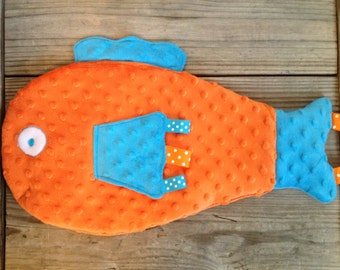 Fish Blanket, Fish Blankie, Security Blanket, Sensory Blanket, Minky Blanket, Orange Fish Blanket, Baby Shower Gift, New Baby Gift