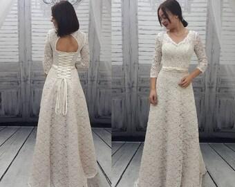 Boho,A-Line,Vintage Inspired Fully, Lace Wedding Dress,Bohemian Style,Wedding dress with sleeves,Beach bridal gown,Custom wedding dress,
