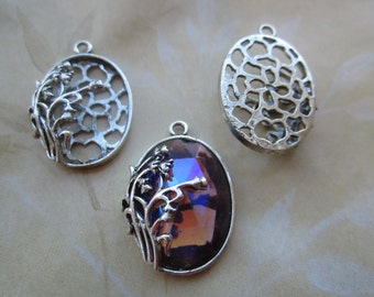 Silver Plated Lily Of The Valley Pendant Settings For 25x18 Cabs 2Pcs.
