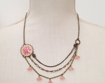 statement necklace - pink necklace - resin jewelry delicate necklace with pink pressed Flowers and several chains - flower necklace bib