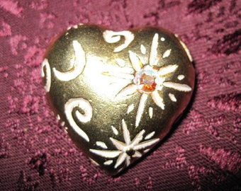 Vintage Heart Shaped Gold Brooch