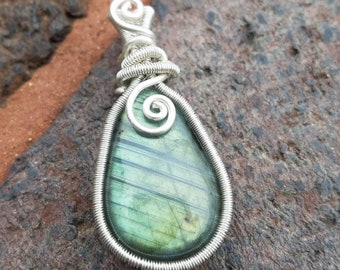 Labradorite with sterling silver wire
