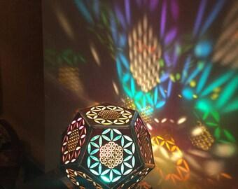 Flower of Life Lamp, Dodecahedran, Wood lamp, Morocco Lamp, Bedside Lamp, Modern Light, Desktop Lamp, Geometry, Nightlight