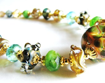 FREESHIP For Mom, Green Lampwork Necklace, Gold Vermeil, 14k Gold Filled, SALE 35% OFF, Luxe Gift For Mom, Gift Boxed, Ready To Ship