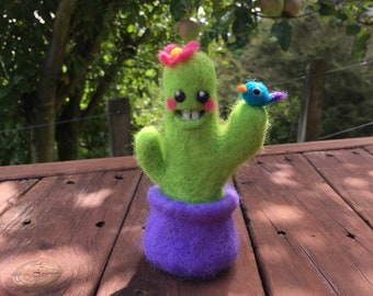 Cactus Character Needle Felted Pincushion Pal