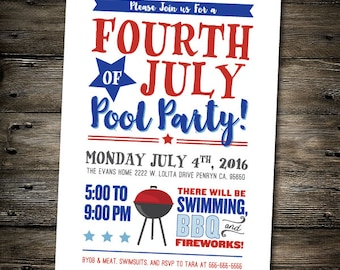 Fourth of July Party Invitation- JULY 4TH pool party/BBQ invite-you print