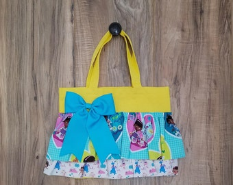 Doc McStuffins #3 Little Girl Ruffled Tote/bag/purse on yellow
